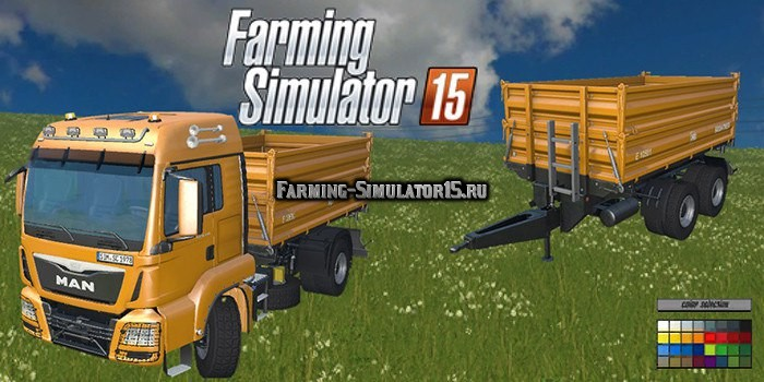 Мод грузовик MAN TGS 18.360 Tipper & Trailer v 2.2 Farming Simulator 15
