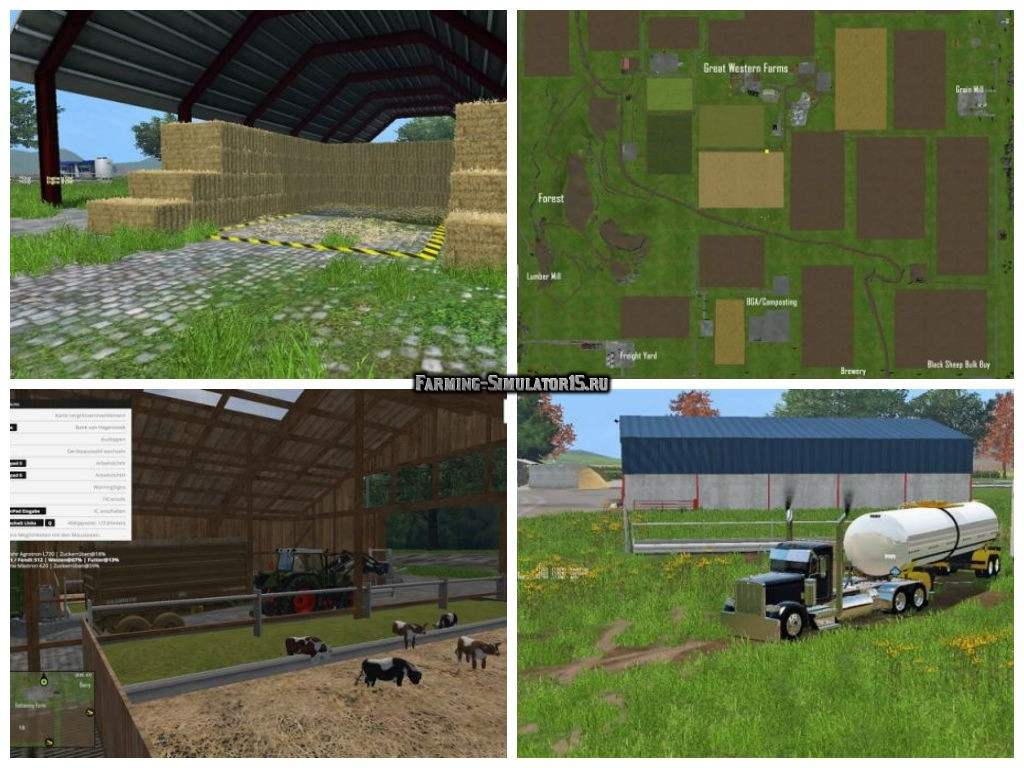 Мод карта Great Western Farms v 3.2 Farming Simulator 15