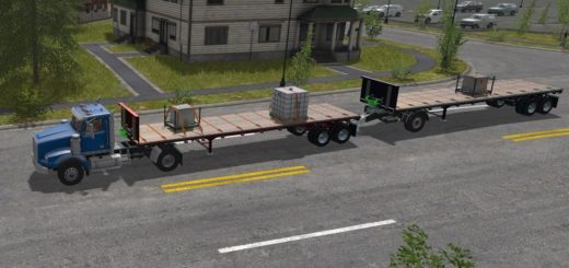 Мод прицеп FS17 US TRAILER WITH TENSION BELTS V1.0 Farming Simulator 2017