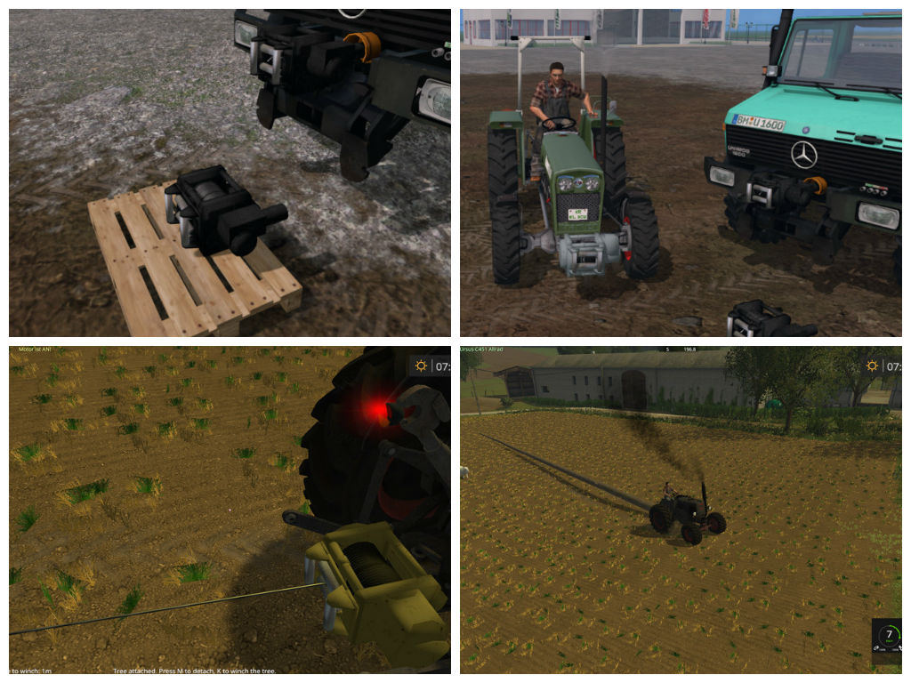 Мод лебедка Mounted winch V 1.0 Beta Farming Simulator 2015