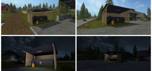 Мод Gas station with shelter and night light v 1.0 Farming Simulator 17