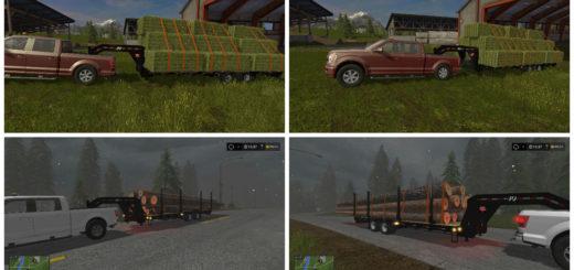 Мод прицеп PJ Trailer 25ft Plus Log Trailer v 1.0 Farming Simulator 17