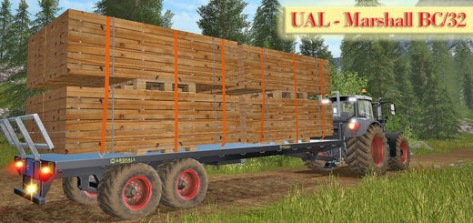Мод прицеп UAL Marshall BC/32 - boards Palette Автозагрузка v 1.0 Farming Simulator 17