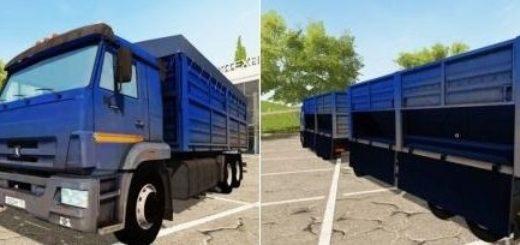 Мод грузовик Камаз Kamaz 65221 and Trailer v1.0 Фарминг Симулятор 2017