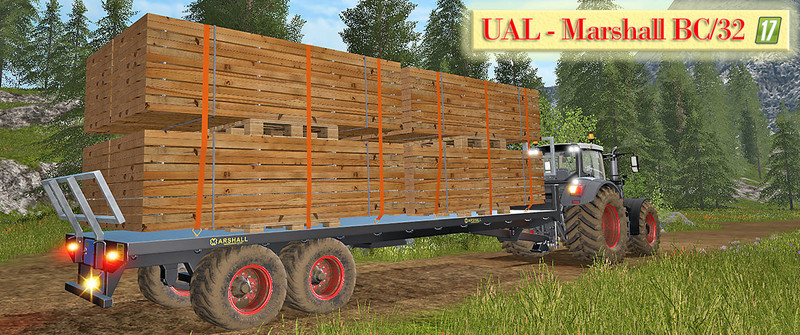 Мод прицеп UAL Marshall BC/32 - boards Palette Автозагрузка v 1.1 Farming Simulator 2017