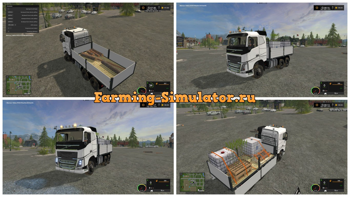 Мод грузовик Volvo FH16 flatbed V 1.0 Farming Simulator 17