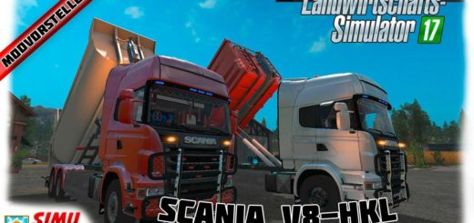 Мод грузовик Scania V8 HKL with rail Trailer v 1.0.2.0 Farming Simulator 17