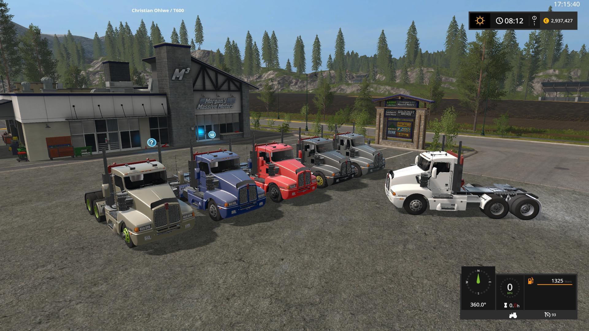 Мод тягач Kenworth T600 Semi Truck v 1.1.0.0 FS17