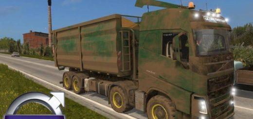 Мод грузовик Volvo FH 16.540 HKL 8x8 v1.0 Farming Simulator 2017