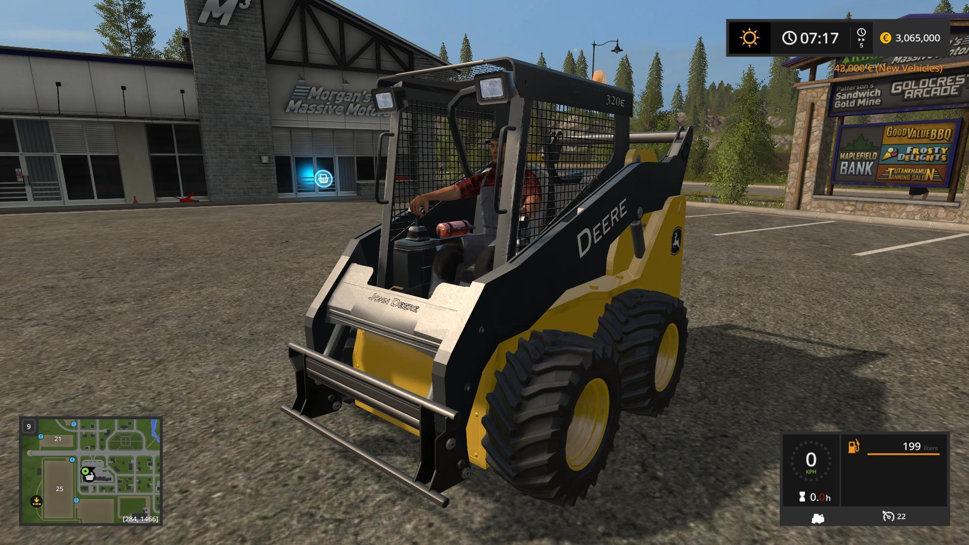 Мод погрузчик JOHN DEERE 320E SKIDSTEER V1.0 Farming Simulator 17