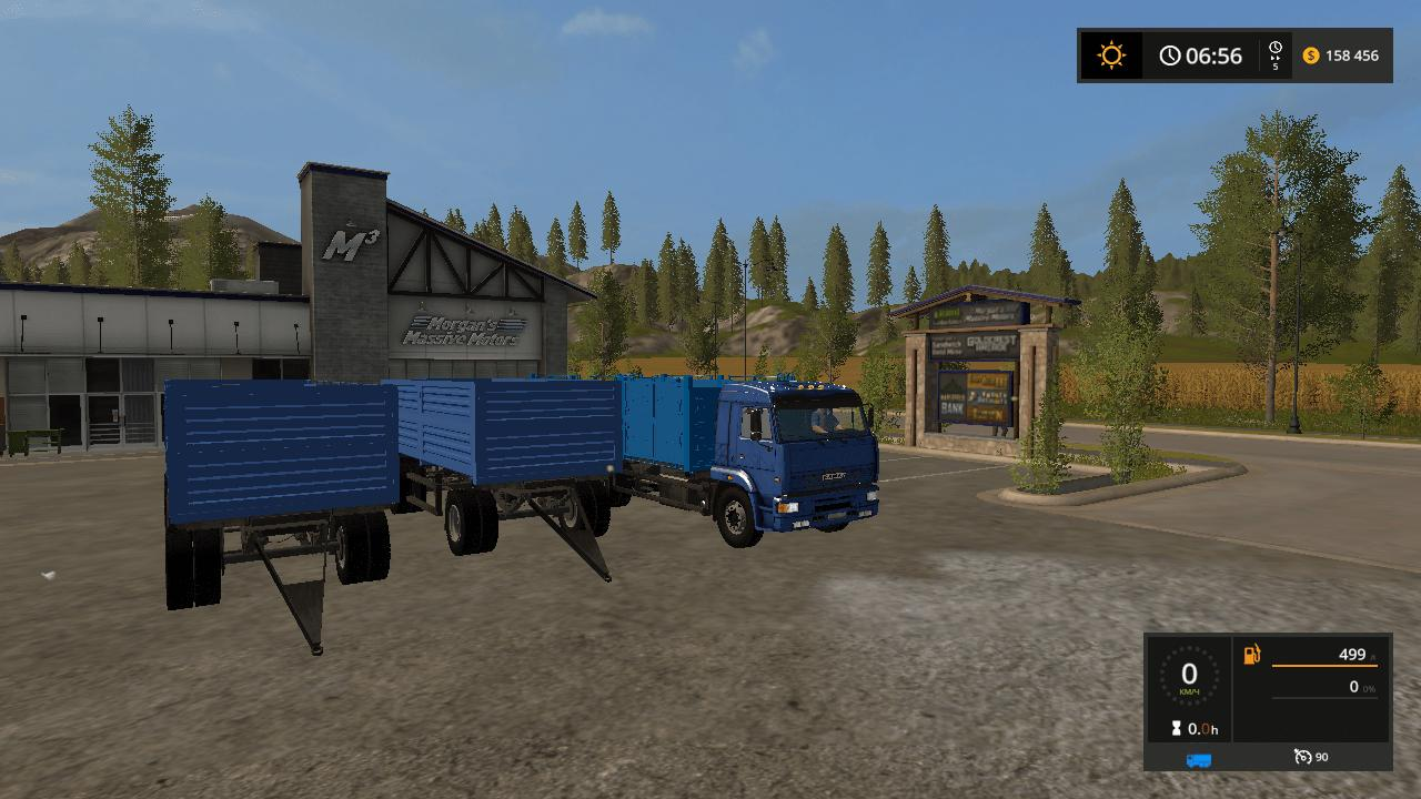 Мод ПАК грузовики КамАЗ 65117 и 2 прицепа v1.6 Фермер Симулятор 2017