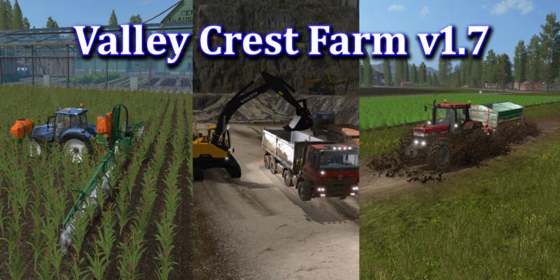 Мод карта VALLEY CREST FARM V1.7 Farming Simulator 2017