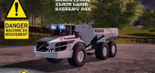 Мод грузовик VOLVO A40G WHITE v1.1 Farming Simulator 2017