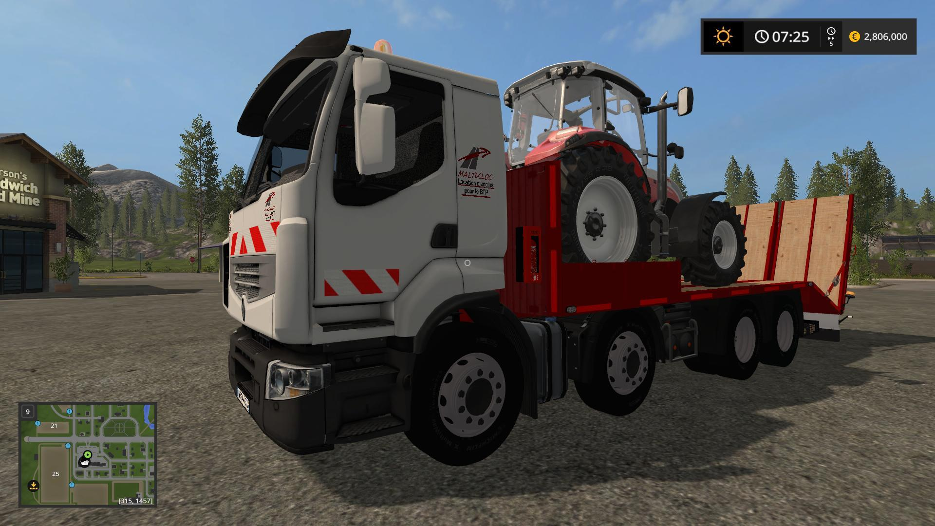 Мод RENAULT TIEFLADER RAMPEN V1.0 Farming Simulator 17