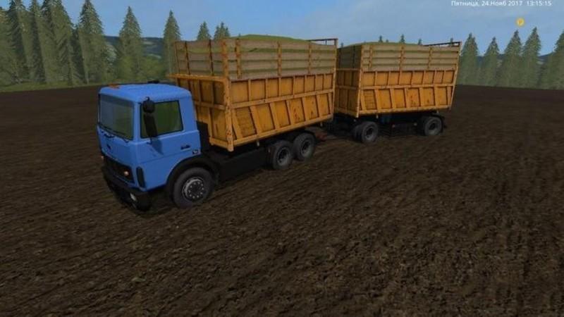 Мод грузовик МАЗ MAZ 5516 WITH TRAILER V1.1 Фарминг Симулятор 2017