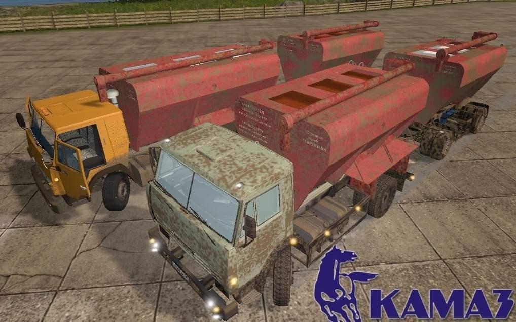 Мод грузовик КамАЗ-43253/5320 и СЗАП-8357 v1.0 Фарминг Симулятор 2017