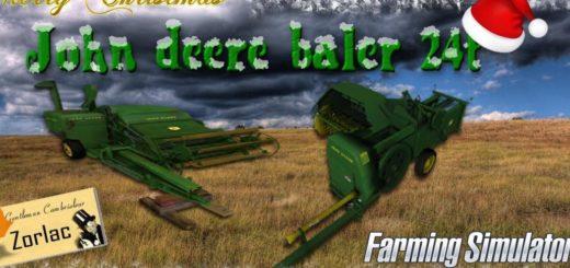 Мод тюкопресс BALER JOHN DEERE 24T v1.0 Farming Simulator 17