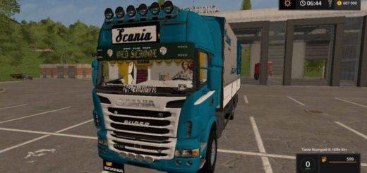 Мод грузовик SCANIA R730 GALLINGER KRONE EDITION V1.1 FS17