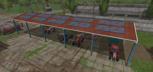 Мод навес VEHICLE SHELTER WITH SOLAR SYSTEM V1.0 FS17