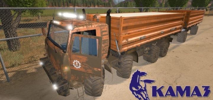 Мод грузовик КамАЗ-6350 8х8 v1.1 Фарминг Симулятор 2017