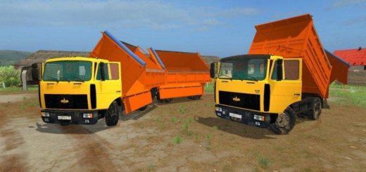 Мод грузовик МАЗ MAZ 5551+TRAILER MAZ 8561 V1.0 Фарминг Симулятор 2017