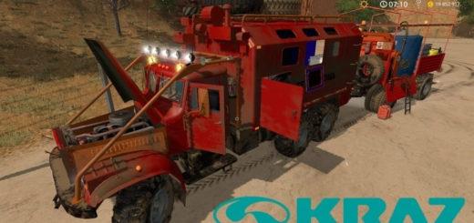 Мод грузовик КрАЗ-255Б Сервисный с прицепом v1.0 Фермер Симулятор 2017