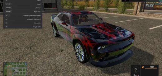 Мод авто Dodge Challenger Red Neon v1.0 FS17