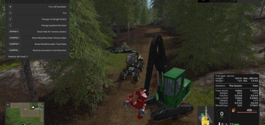 Мод скрипт WOODHARVESTER TREE INFO V1.1 Farming Simulator 2017