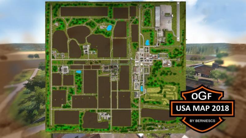 Мод карта OGF USA MAP 2018 V2.0 Farming Simulator 17