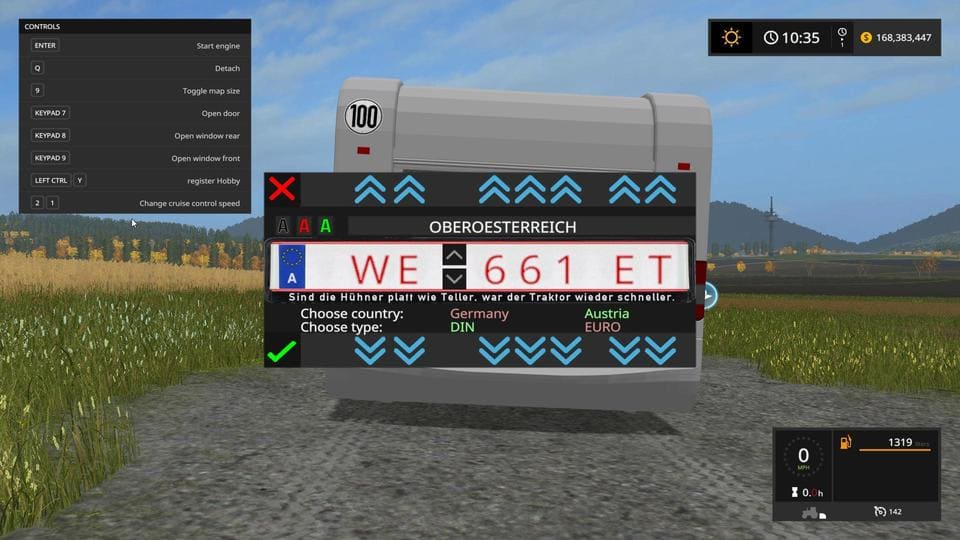 Мод скрипт Custom Number Plate Pack v 2.0 Farming Simulator 17