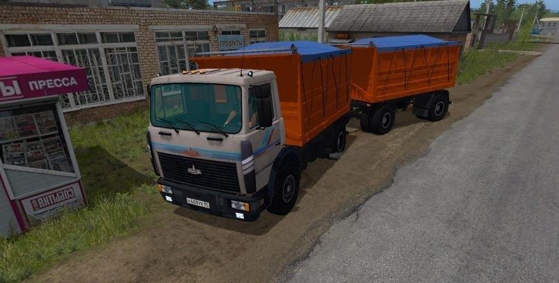 Мод грузовик МАЗ-5551 с прицепом v3.1 Фарминг Симулятор 2017